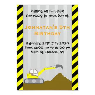 Bagger-Bau-Geburtstags-Einladung 12,7 X 17,8 Cm Einladungskarte