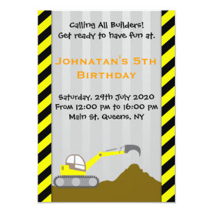 Bagger Bau Geburtstags Einladung Einladung