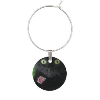 Bagheera der schwarze Katzen-Wein-Charme Weinglas Anhänger