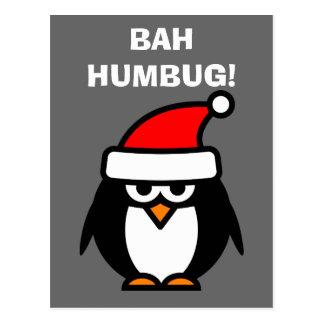 Bah Humbug-Antiweihnachtspenguin-Cartoonpostkarte Postkarte