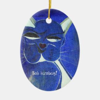 Bah Humbug-blaue Katzen-Haltung Ovales Keramik Ornament