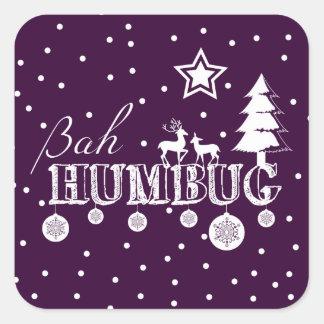 Bah Humbug-Weihnachten Quadratischer Aufkleber