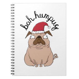 Bah Humpug Weihnachtssankt-Mops Notizblock
