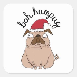 Bah Humpug Weihnachtssankt-Mops Quadratischer Aufkleber