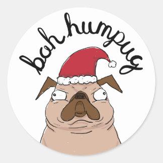 Bah Humpug Weihnachtssankt-Mops Runder Aufkleber