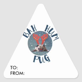 Bah Summen-Mops-Weihnachtssammlung Dreieckiger Aufkleber