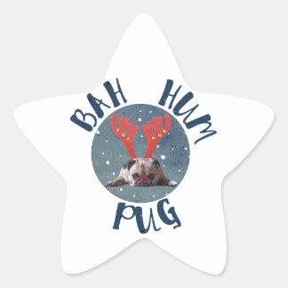 Bah Summen-Mops-Weihnachtssammlung Stern-Aufkleber