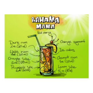 Bahama Mutter Drink- Cocktail Gift Postkarte