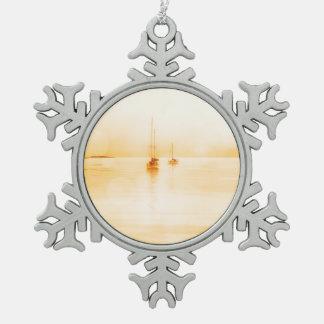 Bahama Sonnenuntergang Schneeflocken Zinn-Ornament