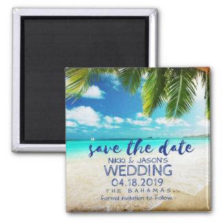 Bahamas-Strand-Hochzeits-Save the Date Magneten Quadratischer Magnet