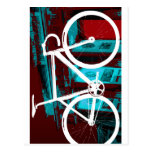 Bahn-Fahrrad Berlin - rotes Blau Postkarte