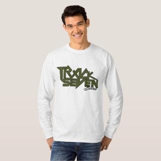 Bahn sieben versehen langes Hülsenlogo-FarbShirt T-Shirt
