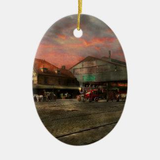 Bahnstation - NY zentrales Eisenbahndepot 1905 Ovales Keramik Ornament
