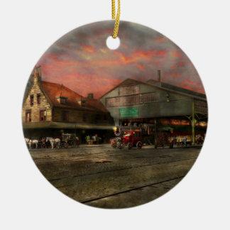 Bahnstation - NY zentrales Eisenbahndepot 1905 Rundes Keramik Ornament