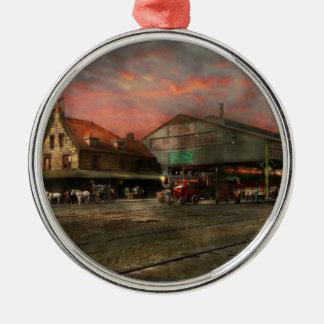 Bahnstation - NY zentrales Eisenbahndepot 1905 Rundes Silberfarbenes Ornament