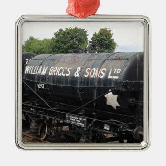 Bahnszene - Tanker - Vintag Quadratisches Silberfarbenes Ornament