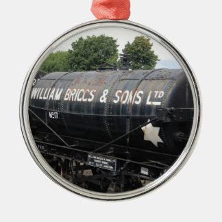 Bahnszene - Tanker - Vintag Silbernes Ornament