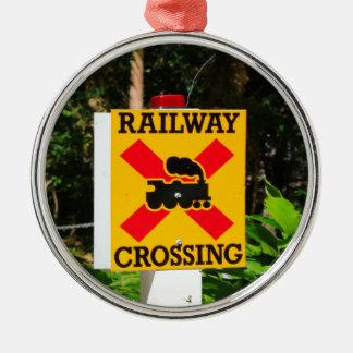 Bahnübergang Zeichen Silbernes Ornament