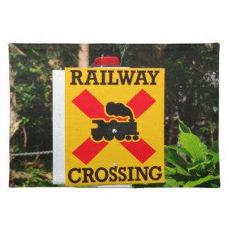 Bahnübergang Zeichen Stofftischset