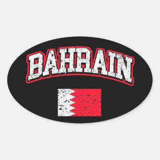 Bahrain-Flagge Ovaler Aufkleber