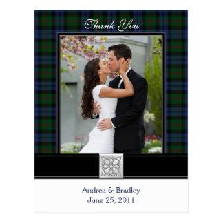Bairdtartan-Hochzeit danken Ihnen Postkarte