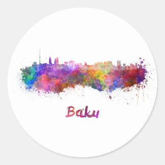 Baku skyline im Watercolor Runder Aufkleber