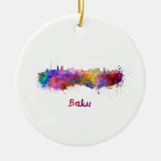 Baku skyline im Watercolor Rundes Keramik Ornament