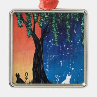 Balancierende Katzen Quadratisches Silberfarbenes Ornament
