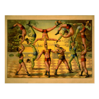 Balancierendes Akrobat-Zirkus-Plakat Postkarte