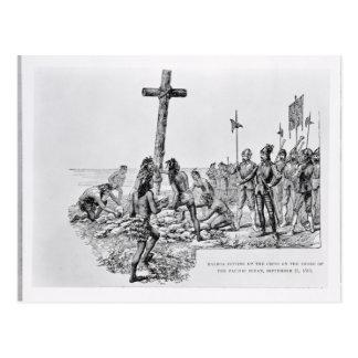 Balboa das Kreuz auf dem Ufer gründend Postkarte