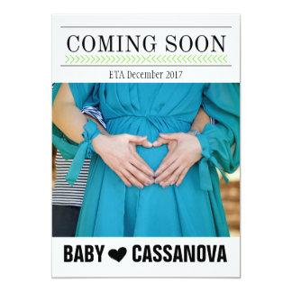 Bald kommen Baby-Schwangerschafts-Foto-Mitteilung Karte