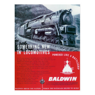 Baldwin sich fortbewegende Turbine-Lokomotive Postkarte