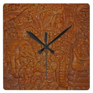 Bali-Holz-Schnitzen Uhr