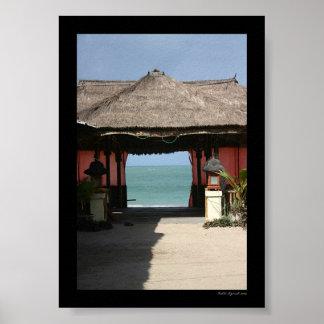 Balinese-Hütte und Ozean Poster