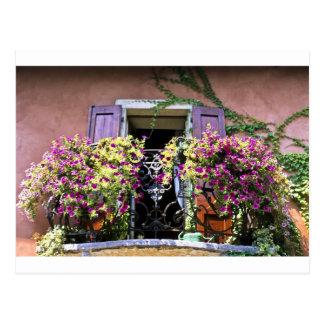 Balkon mit Blumen Postkarte