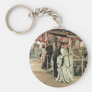 Ball auf Bord durch James Tissot, viktorianische Schlüsselanhänger