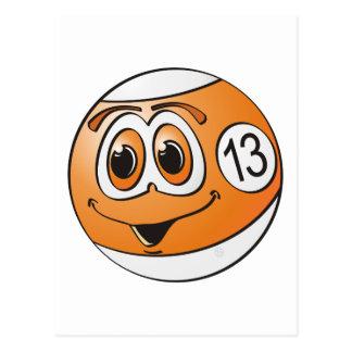 Ball-Cartoon des Pool-dreizehn Postkarte