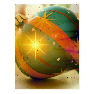 Ball-grüne orange Weihnachtsbaum-Verzierung Postkarte