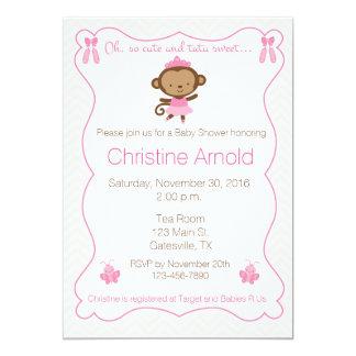 Ballerina-Affe-Babyparty-Einladung 12,7 X 17,8 Cm Einladungskarte