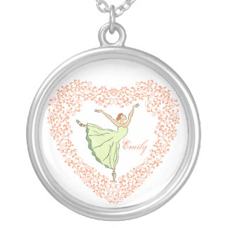 Ballerina-Anmut-Orangen-Herz Versilberte Kette
