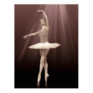 Ballerina auf Pointe in der groben Tönung Postkarten