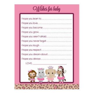 Ballerina-Baby-Duschen-Wünsche Tu Tu niedliche für Postkarte