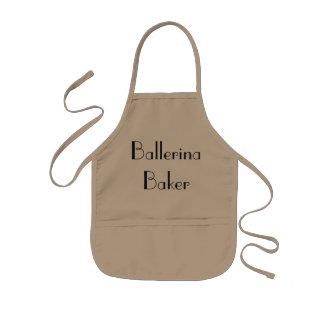 Ballerina-Bäcker-schrullige kakifarbige u. Kinderschürze