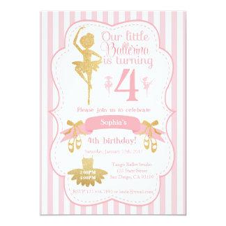 Ballerina-Geburtstags-Einladung im Rosa und im Karte