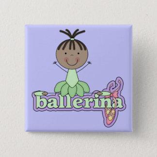 Ballerina - grüne T - Shirts und Geschenke Quadratischer Button 5,1 Cm
