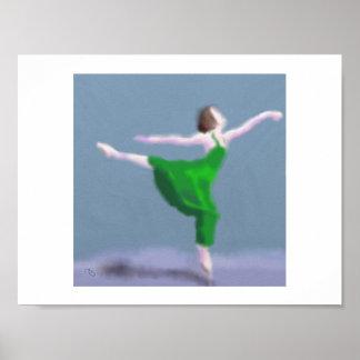 Ballerina in der grünen Kunst Poster