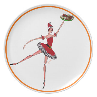 Ballerina in Sankt-Kostüm, das Melaminteller