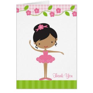Ballerina-Mädchen danken Ihnen zu kardieren Karte