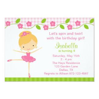 Ballerina-Mädchen-Geburtstags-Party Einladungen