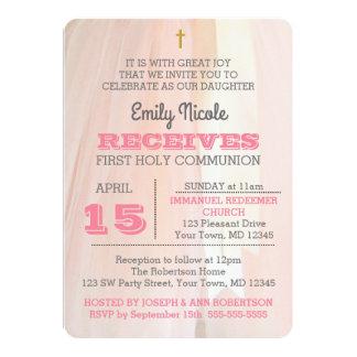 Ballerina-Rosa-erste heilige Kommunions-Einladung Karte